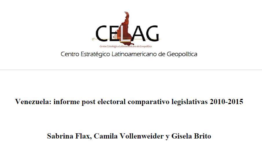 Venezuela: Informe Electoral comparativo legislativas 2010-2015