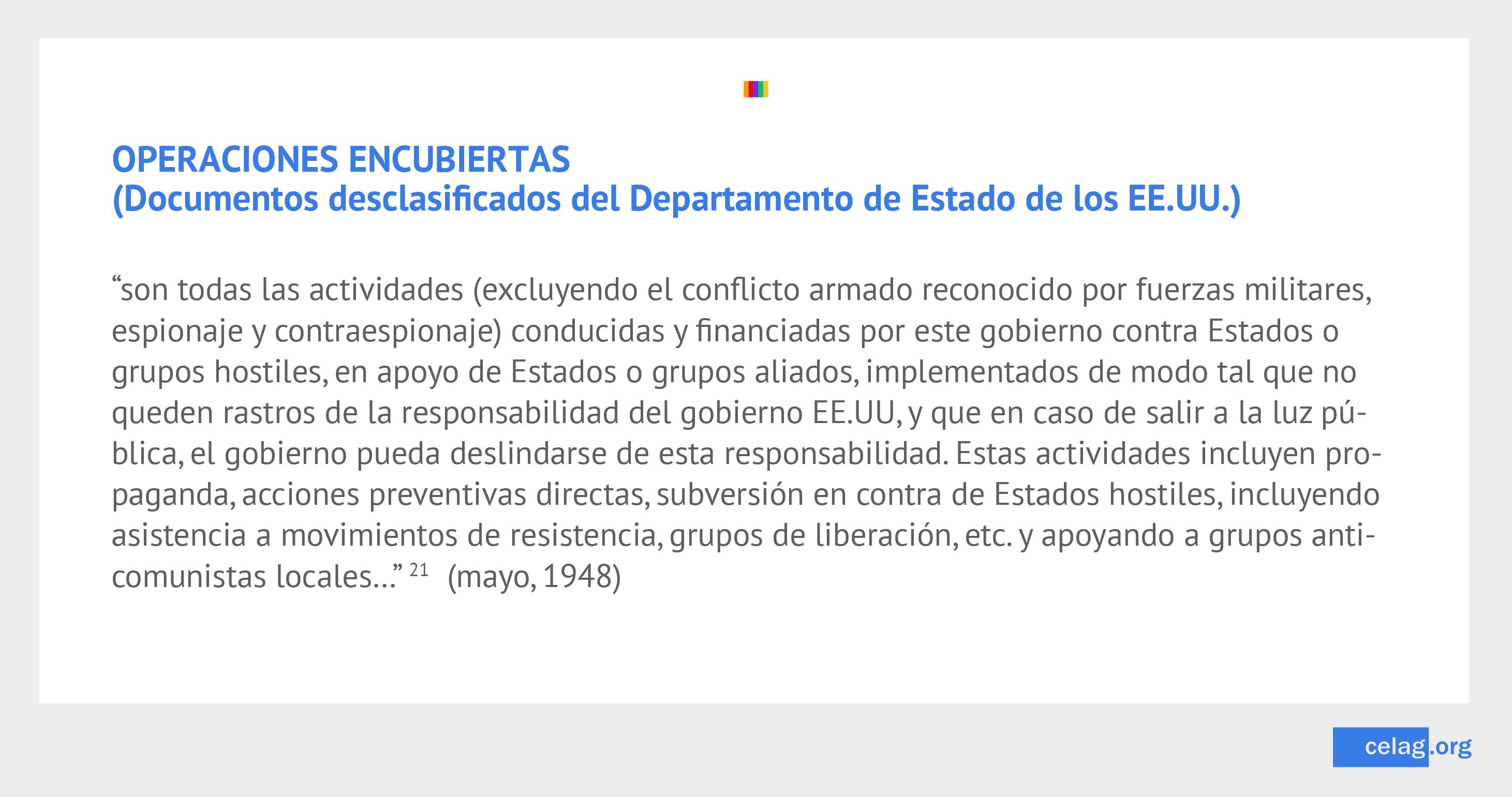 Embajadas de EE. UU. y operativos encubiertos
